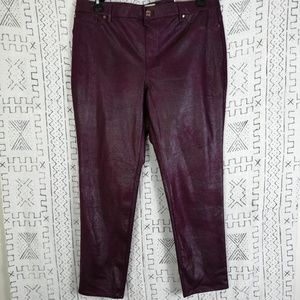NWT Wine Chico's Faux Knit Suede Luggage Pants
